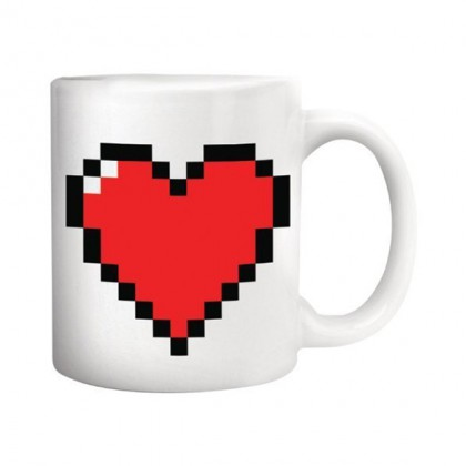 Video Game Mug - Funny Coffee Mug W/ Pixel Heart - Heat Changing Funny Video Game Coffee Mug