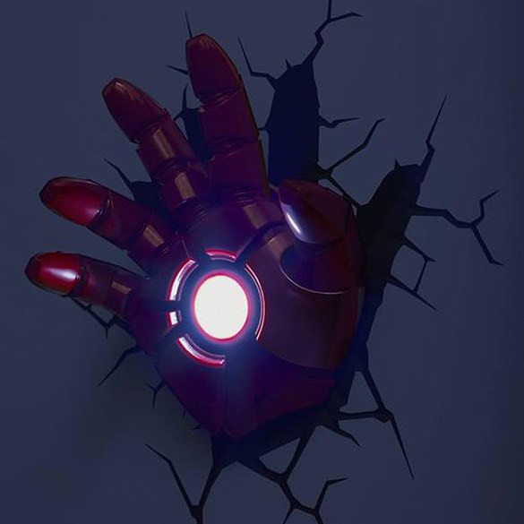 Iron Man Hand Light - Superhero Room Decor - Awesome Night Light Or Wall Decoration For Superhero Themed Kids Bedroom