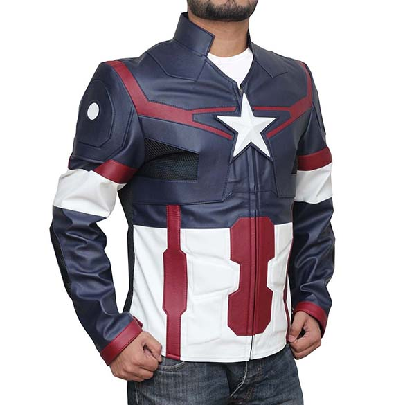 Leather Captain America Jacket - Marvel Avengers Leather Captain America Motorcycle Jacket