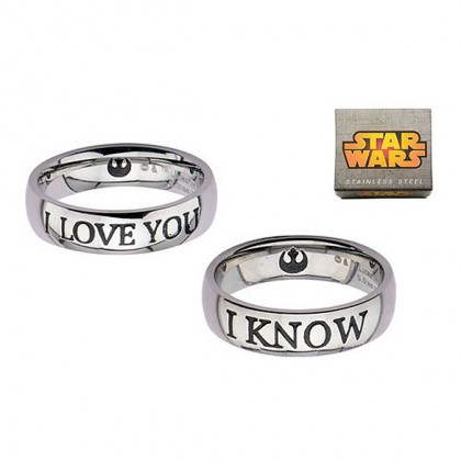 Star Wars I Love You Rings Set - Stainless Steel Han & Leia Rings - I love you - I know