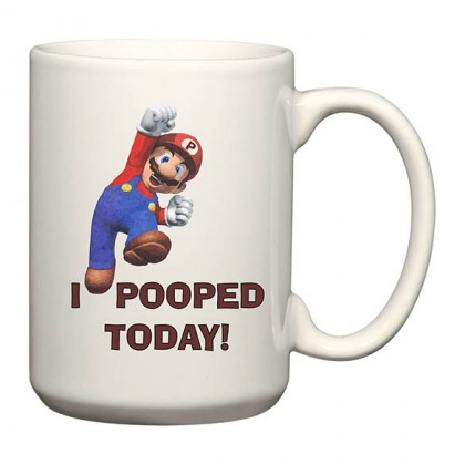 Super Mario Mug - I Pooped Today! - Funny Super Mario Coffee Mug