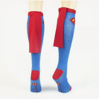 Superman Cape Socks - Sexy Blue DC Comics Girls' Superman Socks With Cape