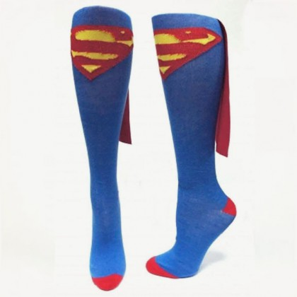 Superman Cape Socks - Sexy Blue DC Comics Womens Superman Socks With Cape