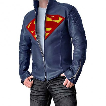 Superman Leather Jacket - Blue Leather Superman Jacket