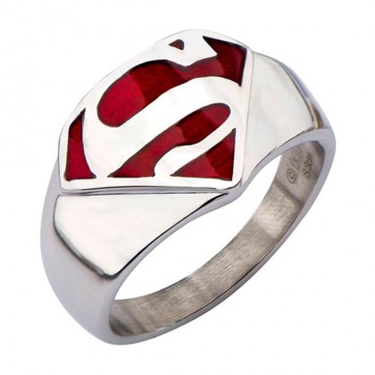 Superman Steel Ring - Man of Steel Chrome Jewelry - Red Logo Superman Steel Ring