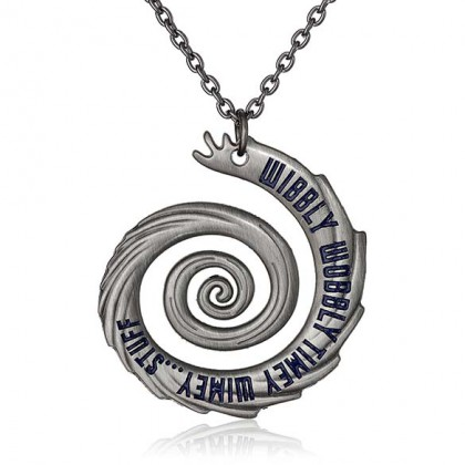 Wibbly Wobbly Timey Wimey Necklace - Silver Doctor Who Pendant - Wibbley Wobbley Timey Wimey Jewelry
