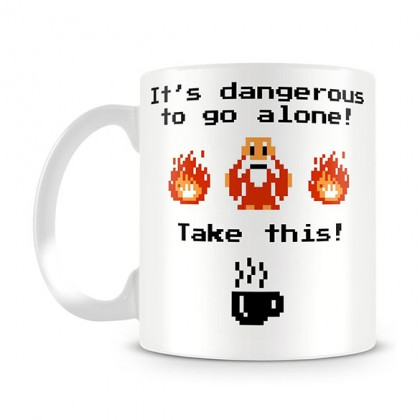 Zelda Coffee Mug - It's Dangerous To Go Alone Zelda Mug
